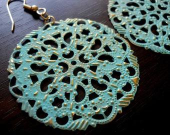 LACY VERDIGRIS-Round Lacy Verdigris Filigree Earrings