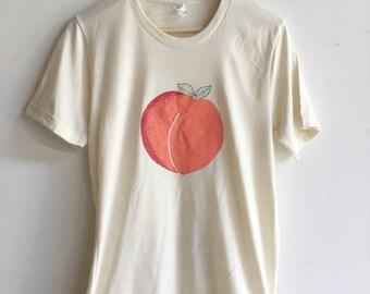 Peach Shirt, Food Shirt, Fruit Shirt, Screen Print Shirt, Soft Style Tee
