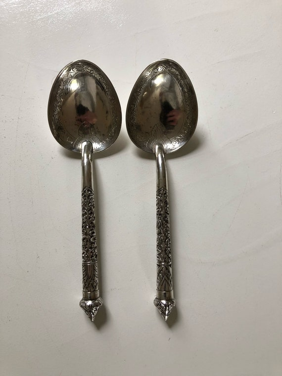 1960s Cambodian 900 Silver Serving Spoons (132 grams)