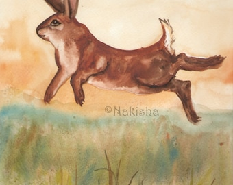 Original Art - The One of Rabbits - Watercolor Rabbit Painting -The Badgers Forest Tarot