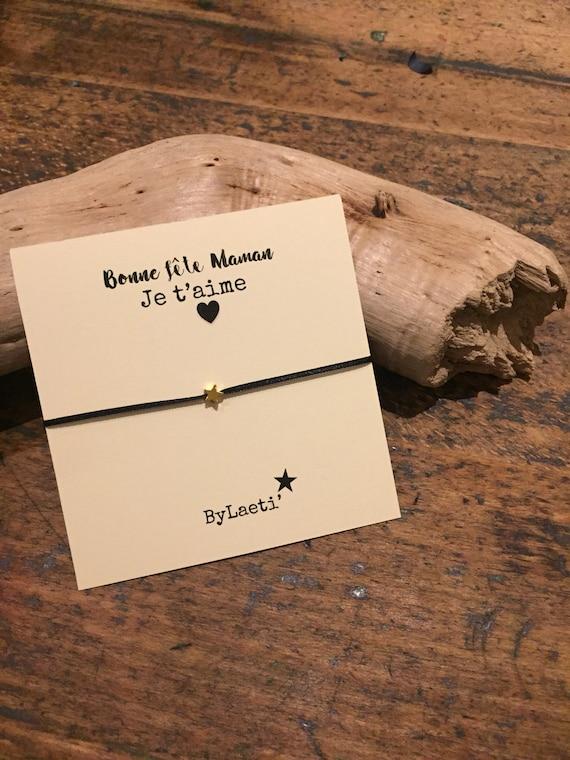 "Bracelet black ribbon, Pearl star message ""mother's day."