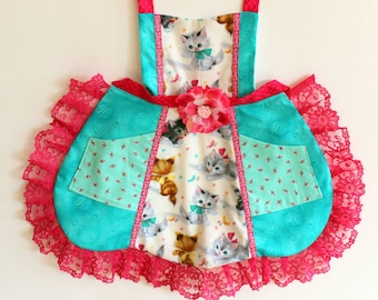 Playful Kitties Apron, Sparkly  apron, dress up, costume