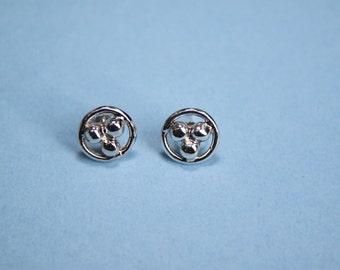 Earrings Sterling Silver Post -  3 Beads In All