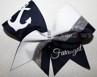 Custom Anchor Cheer Nautical  Team Glitter Hairbow  by FunBows !!