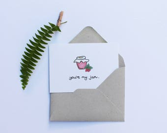 You're my jam | Mini Message Card | Just Because Card | Thank you Card | Love Card | Greeting card