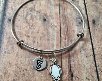 Mirror initial bangle - mirror jewelry, gift for make up artist, make up artist bangle, silver mirror bracelet, hand mirror bracelet