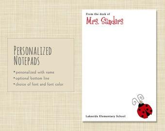 Personalized Teacher Notepad - Teacher Notepad - Teacher Note Pad Gift - stationery - LADYBUG
