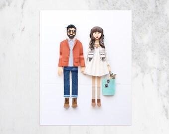 Engagement Portrait Alternative. Couples portrait, portrait of couple, anniversary gift, custom couple portraits.