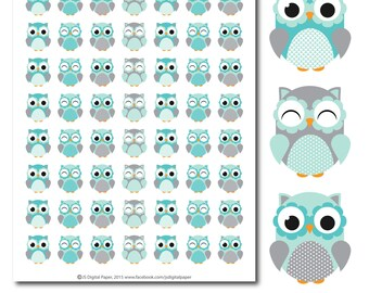 Turquoise Owl stickers, Owl planner stickers, Owl sticker, Woodland stickers, Animal stickers, Forest animal stickers, STI-274