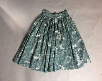 Vintage 50s skirt / 1950s skirt / novelty print skirt / animal print skirt / cotton skirt / full skirt / 8143