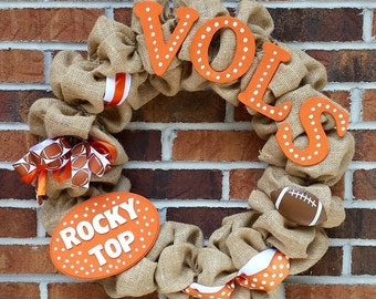Burlap University of Tennessee UT Vols Wreath