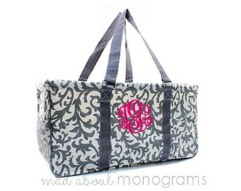 Personalized Monogrammed Collapsible Deluxe Large Utility Tote Bag | GREY FLORAL DAMASK | Teacher Gift | Tailgating | Carry All Organizer
