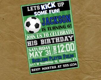 SOCCER Birthday Party Invitation Invite - Football - Digital or Printed