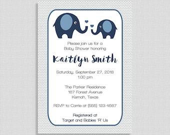 Navy Elephant Baby Shower Invitation, Navy & Grey Shower Invite, Baby Boy, Chevron, DIY PRINTABLE