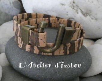 Bracelet femme original en liège double tour fermoir fer à cheval bronze
