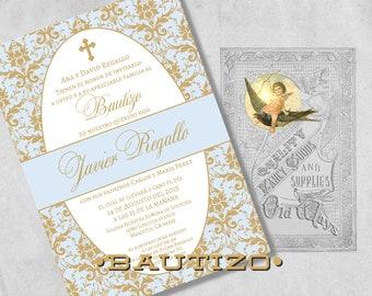 Elegant Spanish Baptism Invitations - Blue and Gold Baby Boy Bautizo Invitación Damask - Printed Baptism Invitations with Envelopes