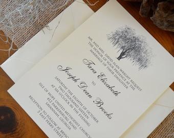 Traditional Savannah Hunter Oak Wedding Invitations - Personalized