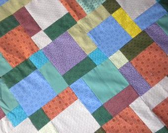 homemade quilt top 79x98 BRIGHT queen scrappy quilt