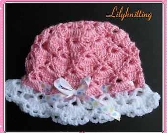 PATTERN in PDF -- crocheted baby hat with lace brim -- 6 - 9 months