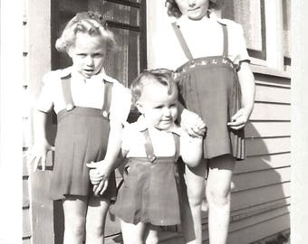 """Vintage Snapshot """"Sibling Rivalry"""" Body Language Sisters Baby Of The Family Found Vernacular Photo"""