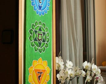 Cotton tapestry chakras wall hanging yoga decor boho bohemian meditation room