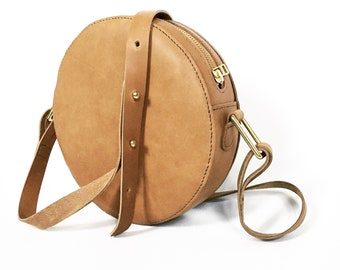 Leather Circle Bag, Round Bag, Brown Leather Bag, Crossbody Bag, Leather Handbag