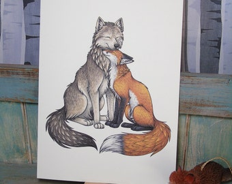 Wolf & Fox Illustration - A3 Print on 175gsm Card available in 2 Colours
