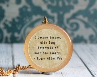 literary gift , book lover gift , english teacher gift , edgar allen poe , poe jewelry , poe quote , allan poe jewelry
