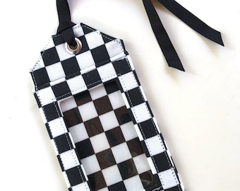 Black and White Check - fabric luggage tag - black and white - travel accessories - travel gifts - party favors - save the date - id holder