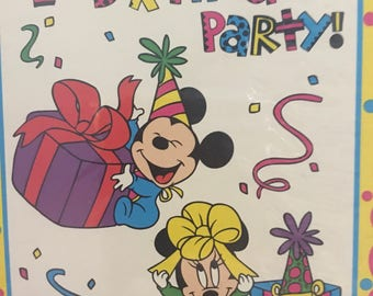 Vintage Disney Baby Mickey Mouse Minnie Babys First Birthday Party Invitations 8 Invites