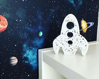 Wooden Rocket Space Decor