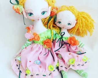 Mother's and daughters,author's textill dolls. Woman day gift,