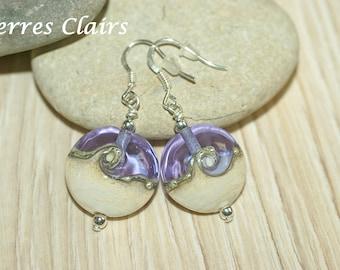 """Purple earrings - ivory """"Twisty"""""""