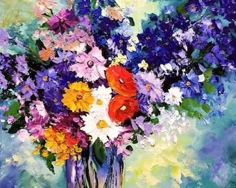 Flowers hand made painting oil on canvas Tadeusz Wojtkowski 60x80 cm