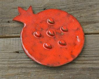 Ceramic Soap Dish Pomegranate Garnet