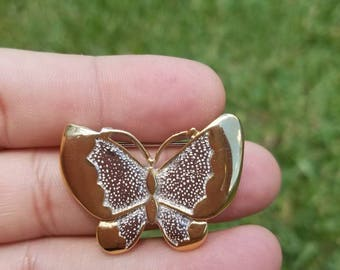 Beautiful Gold and silver tone Vintage Butterfly brooch Pretty summer accessory