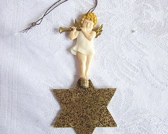 Vintage Christmas Ornament Angel Playing Horn German Christmas Decoration Gold Star