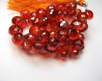 Orange Hydro Quartz Gemstone. Faceted Onion Briolettes. 7mm. Pairs or Non Match 1 - 5 Briolettes  (6hqr).
