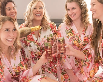 Bridesmaid Robes - Bridal Robe - Satin Robe - Floral Bridal Party Robes - Bridesmaid Gifts - Floral Robe - Personalized Robe - Monogram Robe
