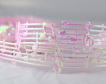 """Opaque Light Pink Musical Music Notes Heat Melody Cut Out Ribbon 1"""" WIDE Scrapbooking HairBows Parties DIY Projects OL1015"""
