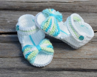 Ready to Ship!  6-12 Month Crochet Baby Sandals, Paris Baby Sandals, Baby Girl Sandals, Gift