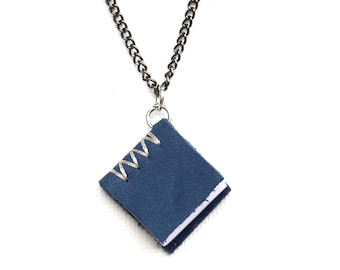 Mini Blue Leather Book with Hand Sewn Binding and Blank Pages