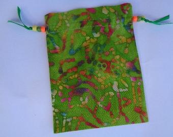 Green Multicolored Batik Cotton Tarot, Rune  or Crystal Keeper Bag