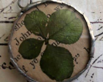 Four leaf clover soldered pendant