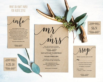 Modern Calligraphy Wedding Invitation, Printable Wedding Invitation Template, Rustic Wedding Invitation Cards, Editable Text, Mr Mrs VW10