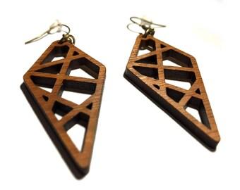 Wooden earrings, Woodland earrings, Laser cut earrings, Dangle earrings, Boho earrings, Gypsy jewelry, Gift for her, Lightweight earrings