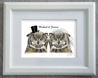 Wedding Illustration - Funny wedding gift - Wedding Gift Personalized - Owl Gifts - Wedding gift ideas - Wedding Gifts for Couple