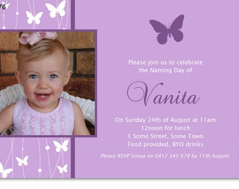 Girl's Birthday and / or Christening Butterfly Photo Invitation - Printable and Digital
