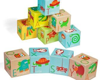 Alphabet Blocks - PRINTABLE PDF Toy - DIY Craft Kit Paper Toy - Animals and letters - Baby Alphabet Blocks