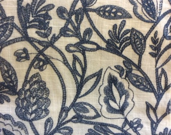 Emroidered LINEN navy home decor fabric